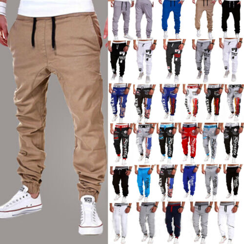 Mens Sports Gym Slim Fit Trousers Tracksuit Skinny Joggers Sweat Pants Bottoms