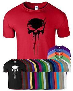Punisher-Skull-T-Shirt-Frank-Castle-Skull-Marvel-Agent-Splatter-Mens-MMA-Top-Tee