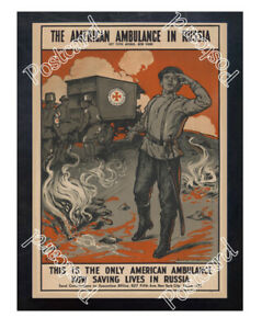Historic-WWI-Recrutiment-Poster-American-ambulance-in-Russia-Postcard