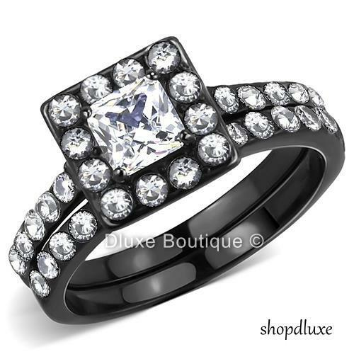 Beautiful Princess Cut CZ Black Stainless Steel Wedding Ring Set Women's Sz 5-10