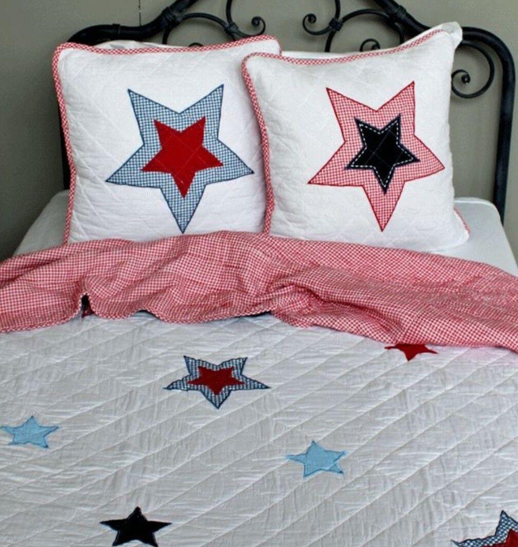 Luxury Kids Nordic Blau rot Star Bedding Cotton Throw&Feather Filled Pillow Set