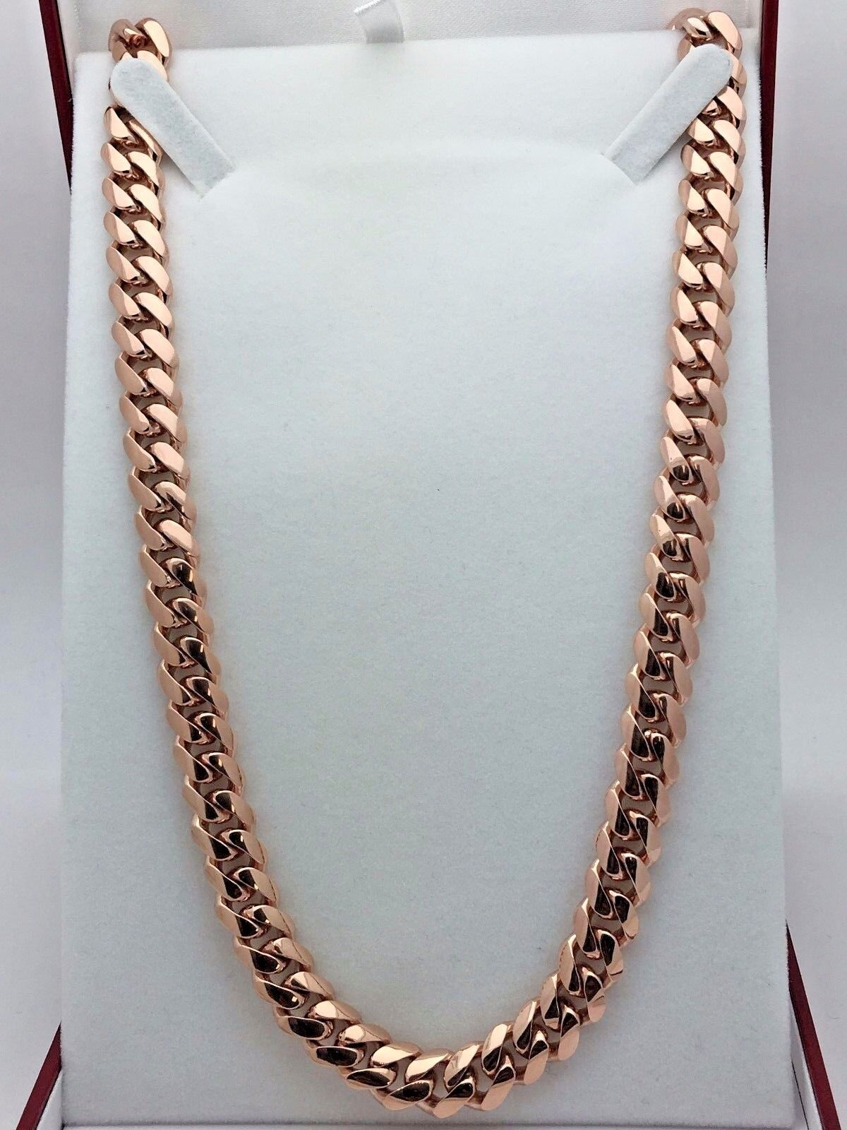 10k Rose Gold Solid Heavy Cuban Link Chain Necklace 20 10mm 130 Grams Ebay