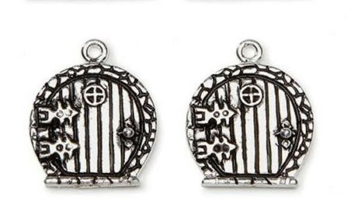 2 Antiqued Silver Plated Pewter 16x16mm Round Fairy Door Charms *