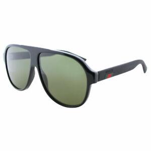 New-Authentic-Gucci-GG0009S-001-Black-Plastic-Aviator-Sunglasses-Green-Lens