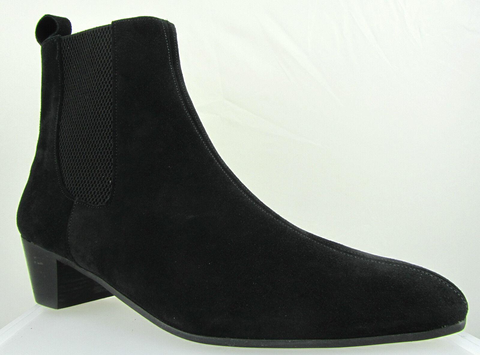 Retro Mens Lennon Black Suede Boot Chelsea Beat Boots Cuban Heel Beatle Original
