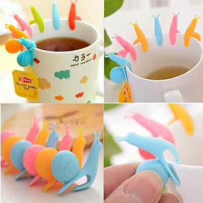 5pcs Cute Snail Shape Silicone Tea Bag Holder Cup Mug Candy Colors Set Lots New