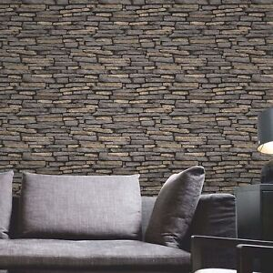 Details About Natural Stone Effect Wallpaper 10m Slate Fine Decor Fd31293 New Feature Wall