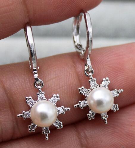 18K or blanc rempli-Tournesol clair topaze perle mariage Lady Gems Boucles d/'oreilles