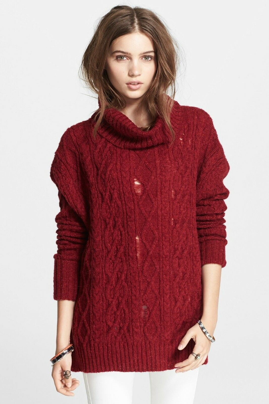 NWT Free People Complex in Red Destroyed Rip Cable Knit Cowl Sweater XS