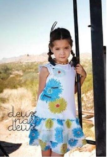 NWT DEUX PAR DEUX CHARMANTE White Floral Jersey//Veile Dress girls 5y 7y H94