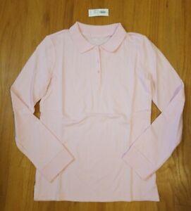 NEW-Old-Navy-14-girl-039-s-pink-long-sleeve-polo-shirt-school-uniform-NWT