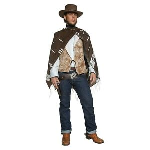 Image is loading Cowboy-Costume-Adult-Clint-Eastwood-Poncho-Wild-West-  sc 1 st  eBay & Cowboy Costume Adult Clint Eastwood Poncho Wild West Gunslinger ...