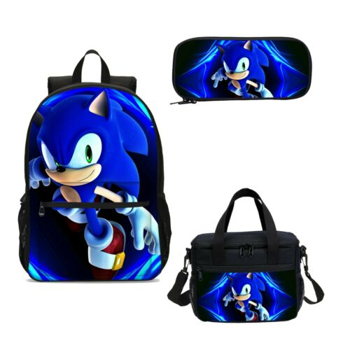 Sonic the Hedgehog kids Backpack Schoolbag Insulated Lunch Bag Pen Case Gift Lot