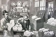 Berghaus ENGLISH BUYERS SAMPLING COTTON in STORE 1885 Antique Engraving Matted
