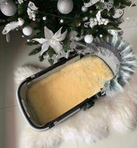 Medical Grade Lambskin Cob Bed Pushchair Pram Car Seat Liner Cotton Backing Tube
