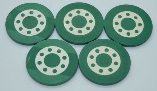 Set of 20 Vintage Green Poker Chips Crest and Seal Circle with Dots