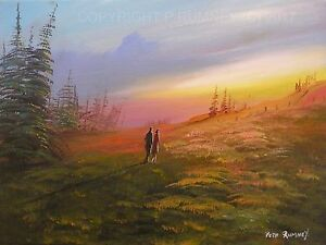 Pete-Rumney-Art-Original-Canvas-Painting-Evening-Dusk-Sunset-Couple-Walking