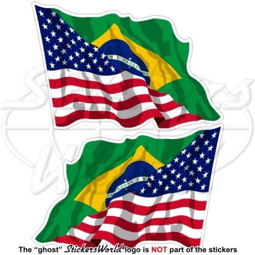 USA United States America-BRAZIL American-Brazilian Flying Flag 75mm Stickers x2