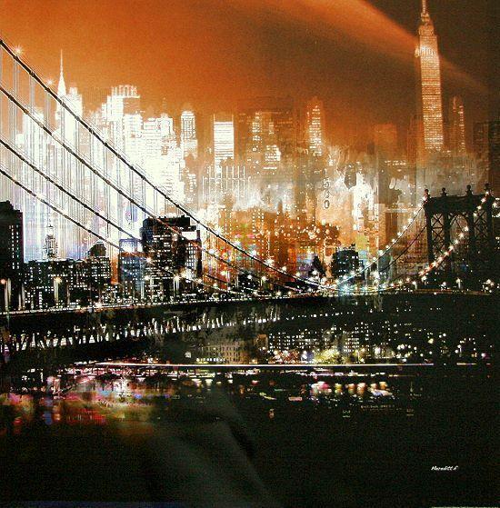 Merossoitt. F F F  PONTE di BROOKLYN by NIGHT NEW YORK COMPLETO - 70x70 Immagine Muro Immagine Modern 1963bc