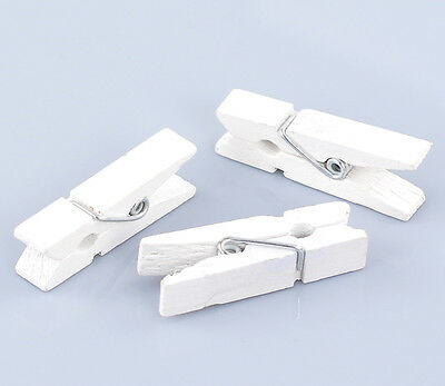 50 HQ White Wooden Po Paper Clothespin Clips Note Pegs 3.5x0.7cm