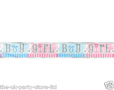 Baby GENDER REVEAL Boy Baby Girl 12ft foot FOIL BANNER Unisex Baby Shower Party