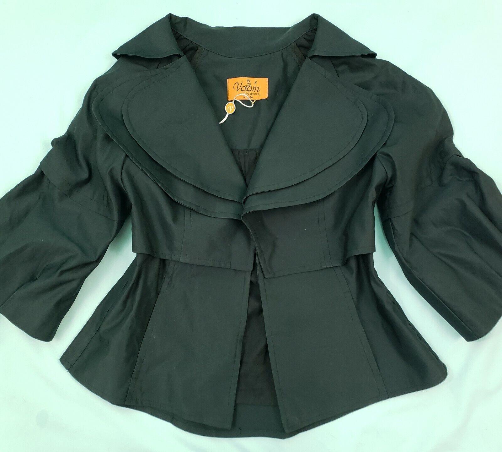 VOOM by Joy Han Evening Dress Jacket SMALL Classic schwarz Bolero Bell Sleeve NWT