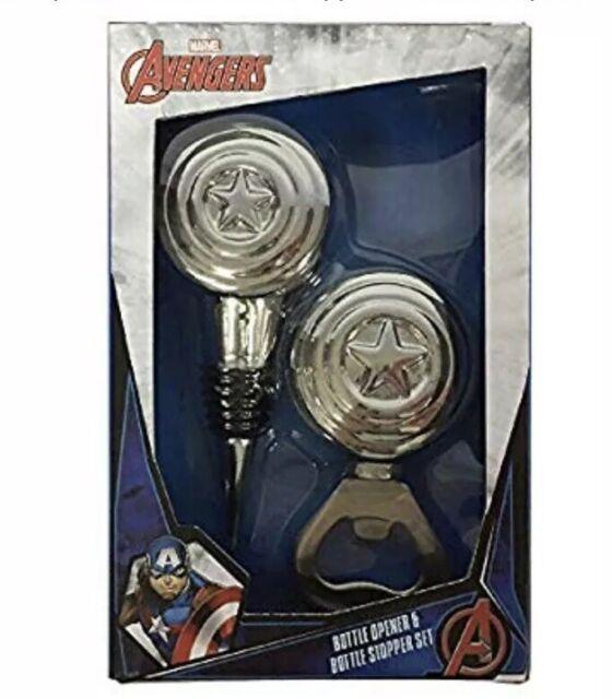 Marvel Avengers Bottle Opener And Bottle Stopper Gift Set NEW NWT