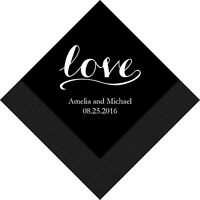 300 Love Signature Personalized Printed Wedding Cocktail Napkins