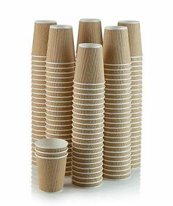1000-X-12oz-Disposable-Coffee-Cups-Disposable-Paper-Cups-Kraft-Cups-Ripple-Cups