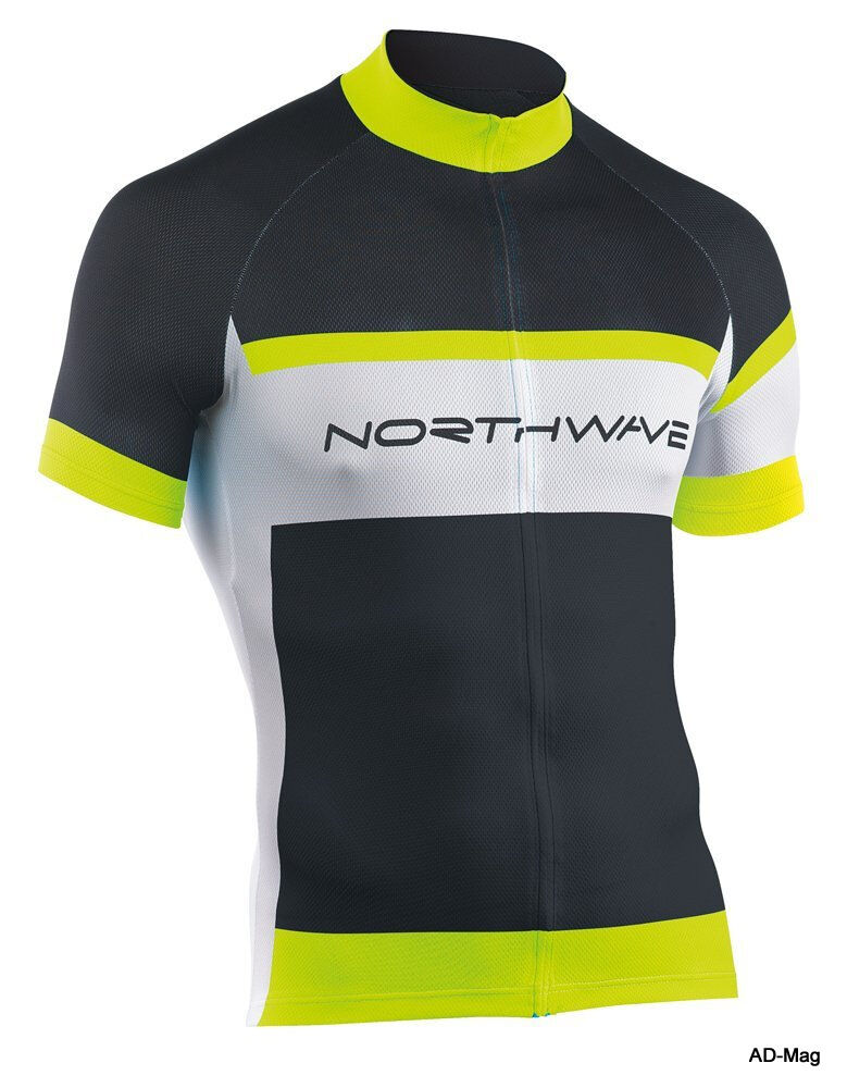 Maillot de Vélo - NORTHWAVE 89151072 Logo Jersey - black yellow Fluo - T. L - NEUF