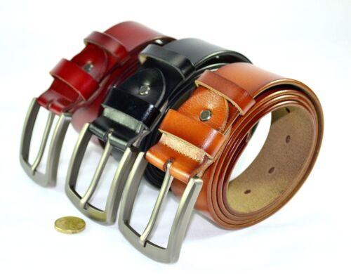 AU 3.8cm Wide Steel Buckle Genuine Leather Man Woman Belt Black Red Brown JN6