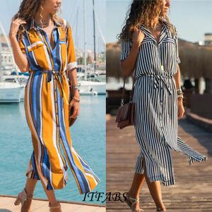 Women-Summer-Stripe-Boho-Party-Evening-Beach-Dresses-Long-Maxi-Dress-Sundress