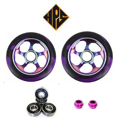 pair pro kick stunt scooter wheels metal core neo chrome 110mm abec 11 bearing 9