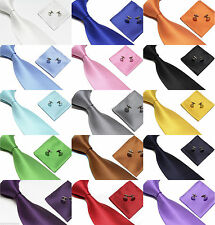 Woven Silk Feel Tie Set Cufflinks and Handkerchief Gift Set For Wedding Party
