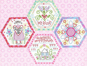 Best-Friends-Forever-4-stitchery-BOM-hexagons-PATTERN-preprinted-fabric