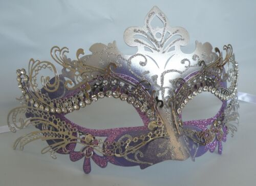 Purple /& Silver Metal Venetian Masquerade Party Mask NEW Express Post Available