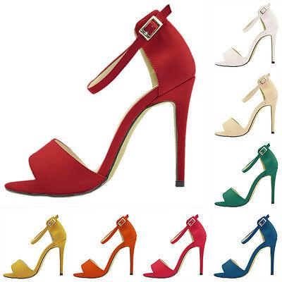 Womens PU Faux Leather High Heels Peep Toe Shoes Sandal Ankle Strap Pumps UK 2-9