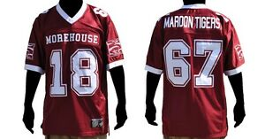 newest 21272 d44bd Details about Morehouse short sleeve football jersey Morehouse Maroon  Tigers football jersey
