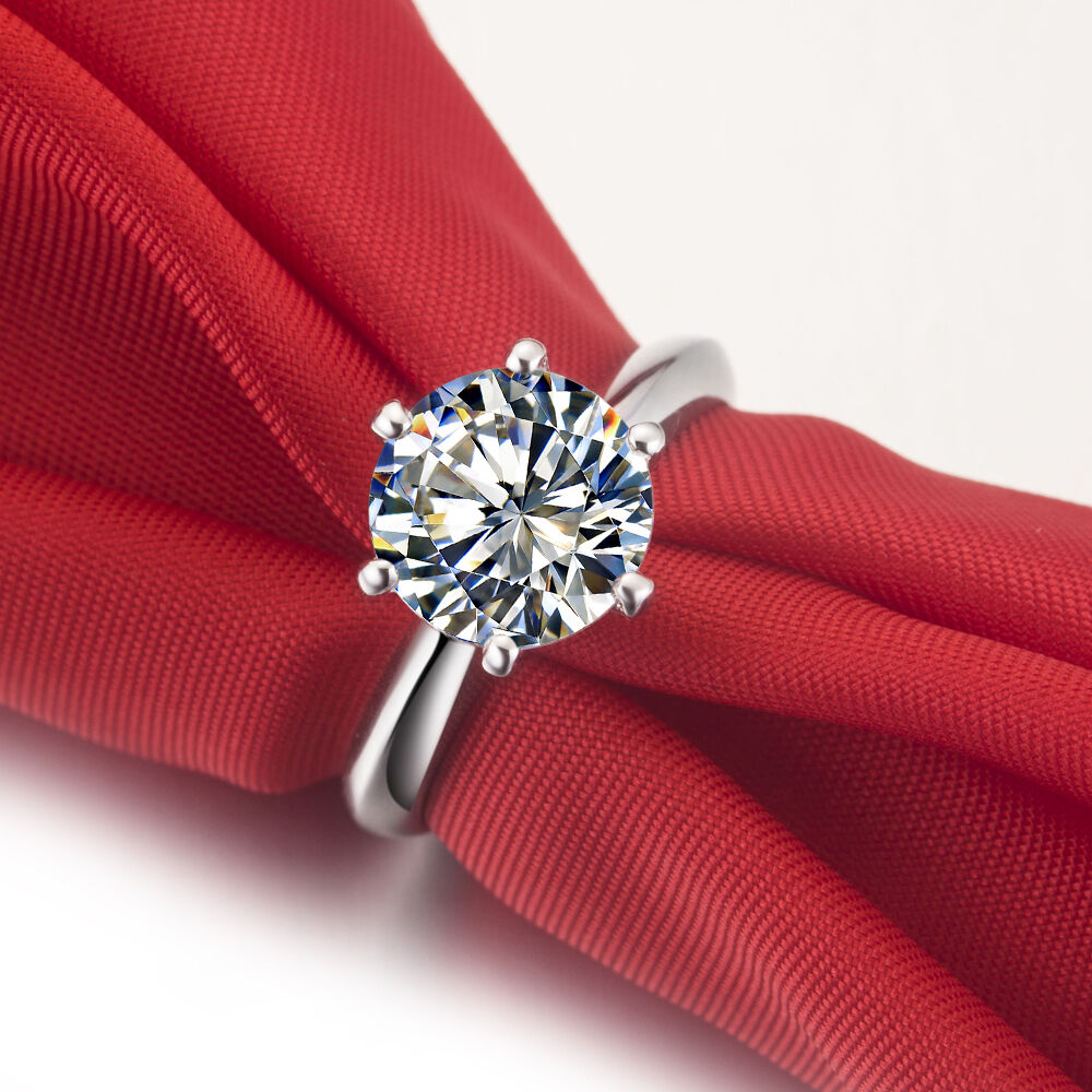 1CT Certified Moissanite Diamond Engagement Ring Pure White gold 14K