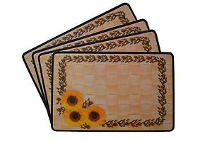 Platzdeckchen-Set-Platzdecke-Tischset-Sonnenblume-abwaschbar-neu
