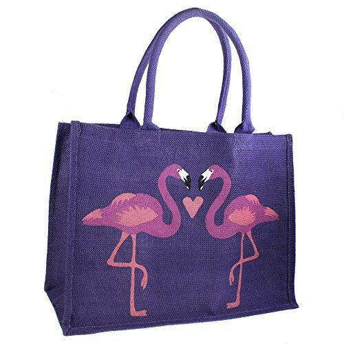 Jute Bag Shopping Bag Padded Handles Flamingos Design Purple
