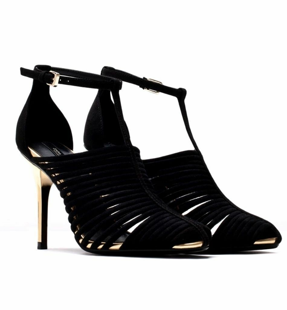 Descuento barato ZARA BLACK SUEDE LEATHER HIGH HEEL SANDALS SHOES SOLD OUT REF.6463 / 301 / 040.