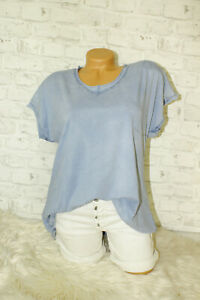 Italy-New-Collection-Long-T-Shirt-puder-blau-Vintage-Gr-36-38-40-blogger