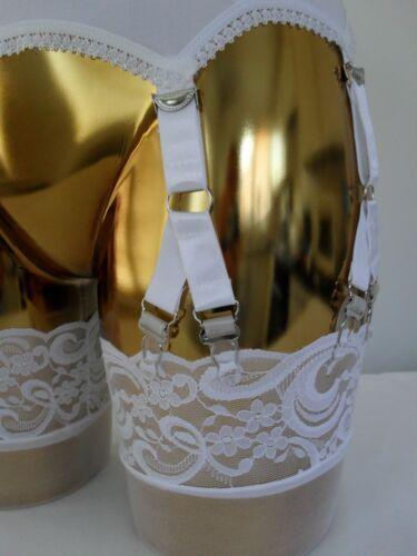 Sml Medium Large Retro 12 V Clasps 6 Strap White Lycra Lace Trim Suspender Belt