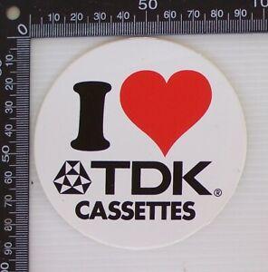 VINTAGE-I-LOVE-TDK-CASSETTES-AUSTRALIA-TAPE-ADVERTISING-SHOP-PROMO-STICKER