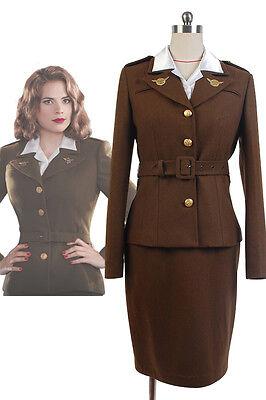 The First Avenger Agent Captain America Peggy Carter Uniform Cosplay Kostüm