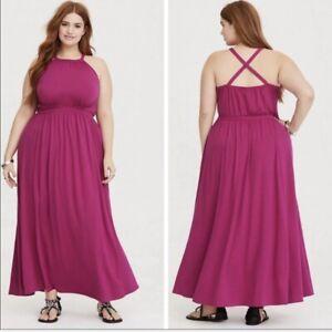 Details about Torrid Women\'s Maxi Dress Raspberry High Neck Jersey Plus  Size 2X NWT