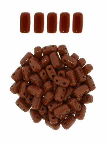 50 CzechMates Brick Umber 2 Hole Two Hole Glass Beads 3x6mm