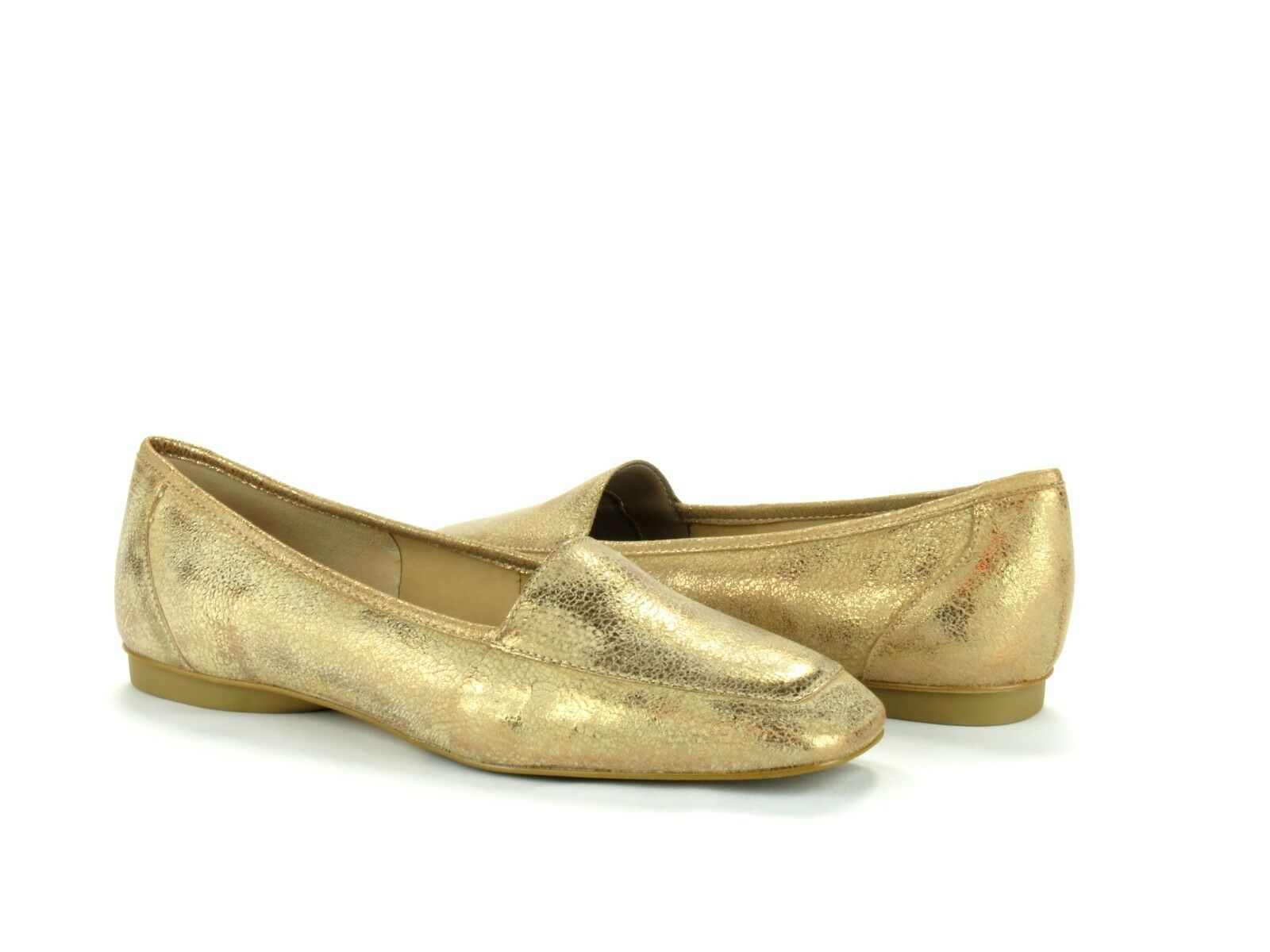 Donald J Pliner Deedee Bronze Metallic Tumbled Leather Slip On Loafer Flat 6