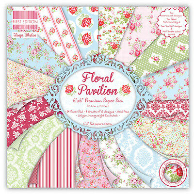 FIRST EDITION FLORAL PAVILION 6X6 SAMPLE PAPER PACK X 16 SHEETS FOR CARDMAKING